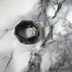 Jewelry - Gunmetal Pyramid Stud Adjustable Ring